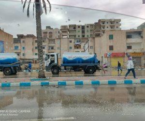 سقوط أمطار غزيرة على مطروح ومدن الساحل الشمالي (صور)