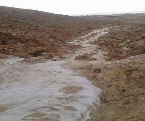 السيول تضرب هضبة ومدينة السلوم غرب مرسى مطروح دون خسائر بشرية أو مادية