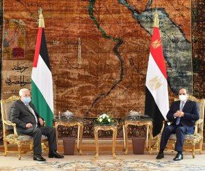 الرئيس السيسي يستقبل نظيره الفلسطينى فى قصر الاتحادية