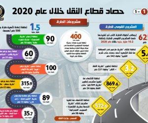 حصاد قطاع النقل خلال 2020.. أبرزها تنفيذ 625 كيلو متر طرق بتكلفة 10.2 مليار جنيه