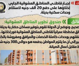 الحكومة تنفي إجبار سكان العشوائيات الجاري إخلاؤها على دفع 20 ألف جنيه لاستلام وحدات سكنية بديلة