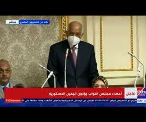 علي عبد العال رئيس مجلس النواب السابق يؤدي اليمين الدستورية خلال الجلسة الافتتاحية