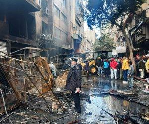 حريق هائل في سوق التوفيقية و«الحماية المدنية» تحاول السيطرة على النيران