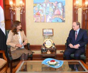 خلال لقاءه بوزيرة الهجرة.. سفير الاتحاد الأوروبي يشيد بنجاح الحكومة مع جائحة كورونا