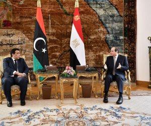 الرئيس السيسى يؤكد على ضرورة إنهاء التدخلات الأجنبية فى ليبيا