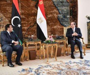 الرئيس السيسى يشدد على دعم مصر الكامل للسلطة التنفيذية الجديدة فى ليبيا