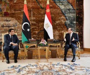السيسي: شرفت اليوم باستقبال رئيس المجلس الرئاسي الليبي (صور)