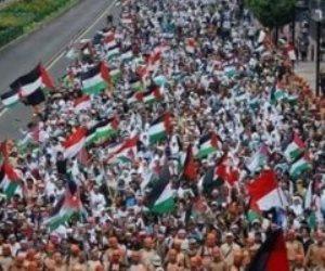 وقفة تضامنية أمام سفارة أمريكا بجاكرتا تنديدا بالعدوان الإسرائيلى على فلسطين