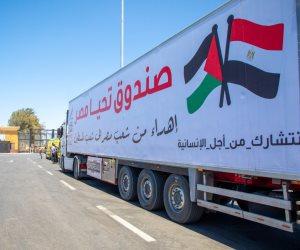 تنفيذا لتوجيهات الرئيس.. قافلة صندوق تحيا مصر تصل ميناء رفح لتوصيل المساعدات لقطاع غزة