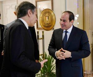 """""""بلينكن"""" ينقل تحيات """"بايدن"""" للرئيس السيسى ويشيد بدور مصر  المحوري في دعم الأمن والاستقرار بالمنطقة"""