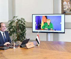 الرئيس السيسى يعرب لميركل عن تقديره لإسهامها بتطوير العلاقات المصرية الألمانية