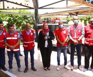 وزيرة التضامن تشهد إطلاق قافلة مساعدات طبية وغذائية لغزة (صور)