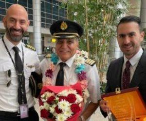 مطار جون كيندى يحتفي بتقاعد أقدم طيار في «مصر للطيران» برش آخر رحلاته بالمياه (صور)