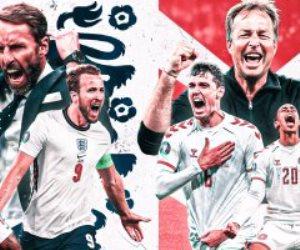 التشكيل الرسمى لمواجهة إنجلترا ضد الدنمارك فى نصف نهائي يورو 2020
