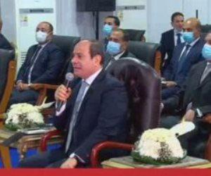 الرئيس السيسى: حياة كريمة فضل من ربنا علينا.. وياريت نعمل مسابقة لأفضل قرية ومركز