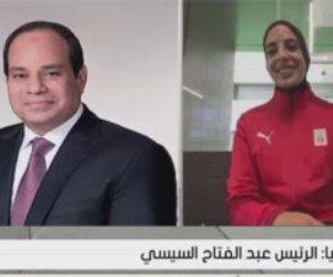 """""""من جد وجد"""".. الرئيس السيسى يهنئ فريال أشرف ويعلن إطلاق أسماء أبطال مصر في أولمبياد طوكيو على بعض المحاور"""