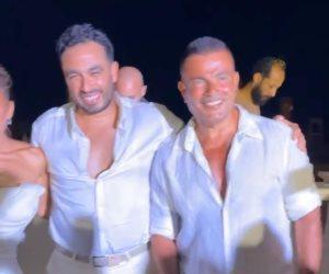 عمرو دياب والسقا فى حفل زفاف نيللى كريم وهشام عاشور.. فيديو وصور