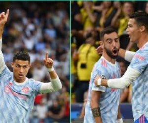 رونالدو يفتتح أهداف مانشستر يونايتد ضد يونج بويز بدورى الأبطال فى الدقيقة 13