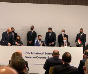 الرئيس السيسى يشهد توقيع مذكرات تفاهم بين مصر وقبرص واليونان