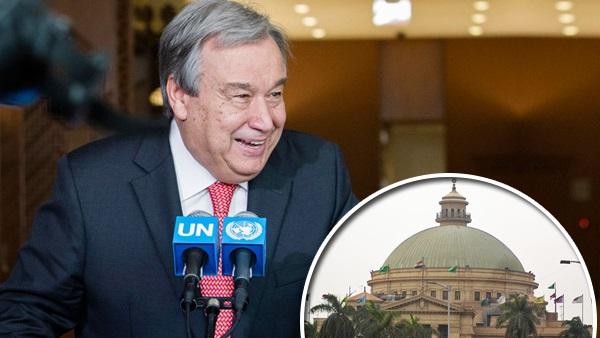 سكرتير عام الأمم المتحدة في جامعة القاهرة الأربعاء